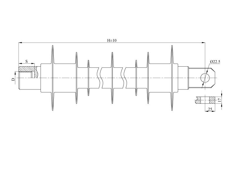 Изоляторы фиксаторные птицезащищенные репеллентные ФСПКр на напряжение 25 кВ