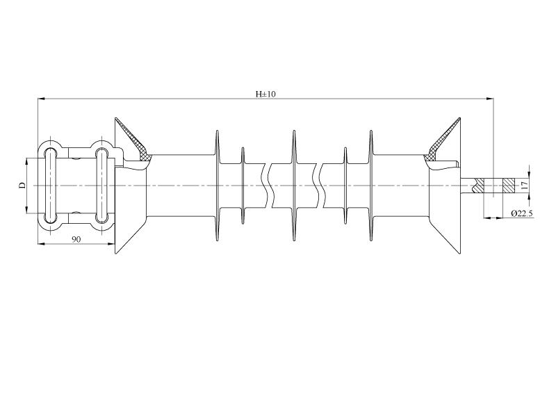 Изоляторы консольные птицезащищенные репеллентные с повышенной электрической прочностью КСПКр  на напряжение 3 кВ