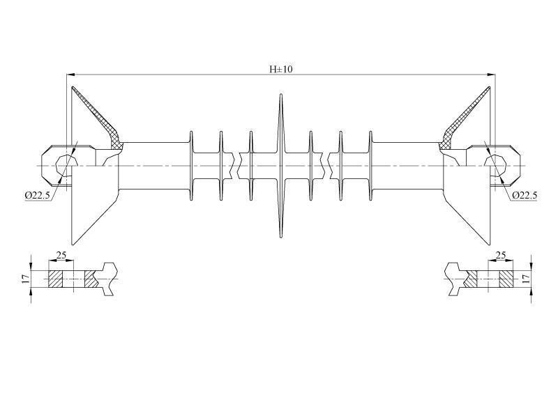Изоляторы натяжные ребристые птицезащищенные репеллентные с повышенной электрической прочностью НСПКр на напряжение 25 кВ