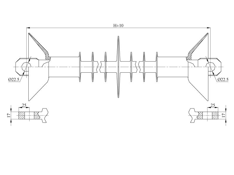 Изоляторы натяжные ребристые птицезащищенные репеллентные с повышенной электрической прочностью НСПКр на напряжение 3 кВ