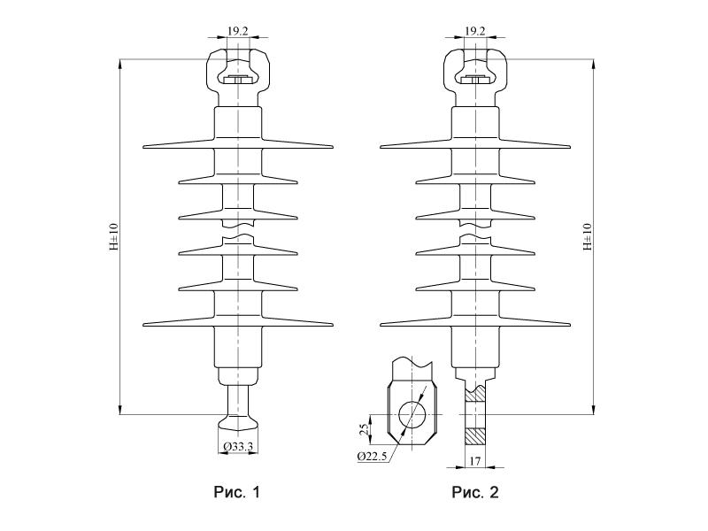 Изоляторы подвесные птицезащищенные репеллентные ПСПКр на напряжение 25 кВ