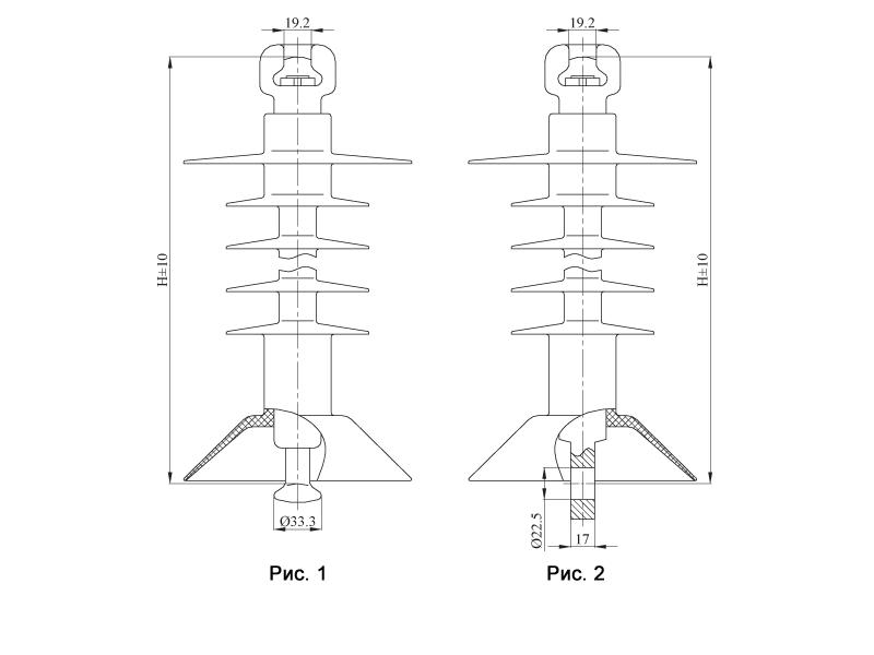 Изоляторы подвесные птицезащищенные репеллентные с повышенной электрической прочностью ПСПКр  на напряжение 25 кВ