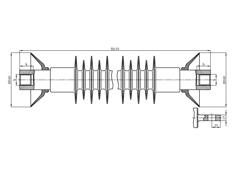 Изоляторы фиксаторные ФСПКр на напряжение 25 кВ с длиной пути утечки 0,95 и 1,1 м