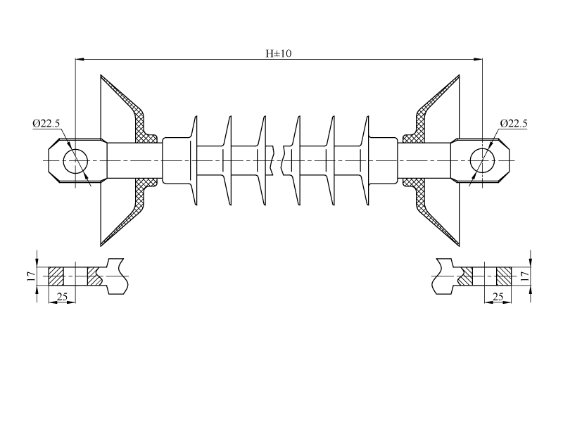 Изоляторы натяжные ребристые НСПКр на напряжение 25 кВ
